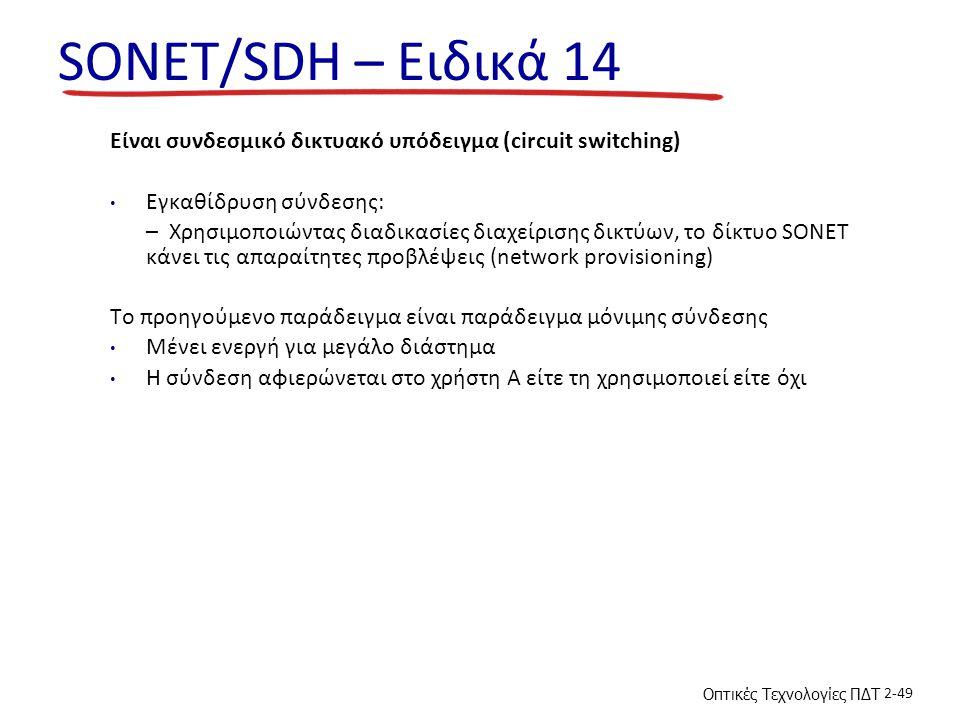 Οπτικές Τεχνολογίες ΠΔΤ 2-49 SONET/SDH – Ειδικά 14 Είναι συνδεσμικό δικτυακό υπόδειγμα (circuit switching) Εγκαθίδρυση σύνδεσης: – Χρησιμοποιώντας διαδικασίες διαχείρισης δικτύων, το δίκτυο SONET κάνει τις απαραίτητες προβλέψεις (network provisioning) To προηγούμενο παράδειγμα είναι παράδειγμα μόνιμης σύνδεσης Μένει ενεργή για μεγάλο διάστημα Η σύνδεση αφιερώνεται στο χρήστη Α είτε τη χρησιμοποιεί είτε όχι