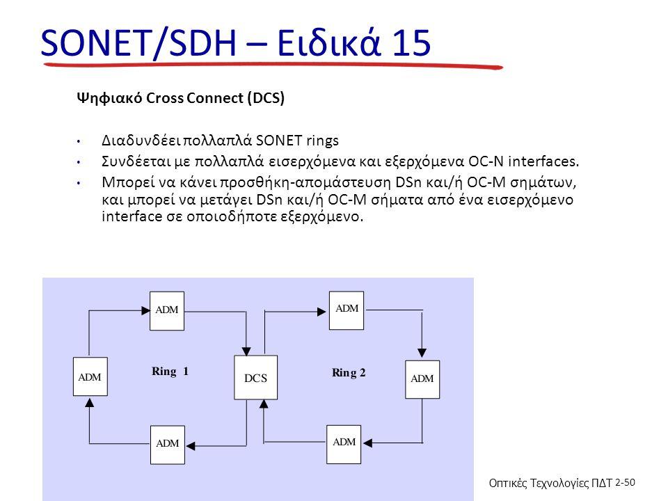 Οπτικές Τεχνολογίες ΠΔΤ 2-50 SONET/SDH – Ειδικά 15 Ψηφιακό Cross Connect (DCS) Διαδυνδέει πολλαπλά SONET rings Συνδέεται με πολλαπλά εισερχόμενα και εξερχόμενα OC-N interfaces.