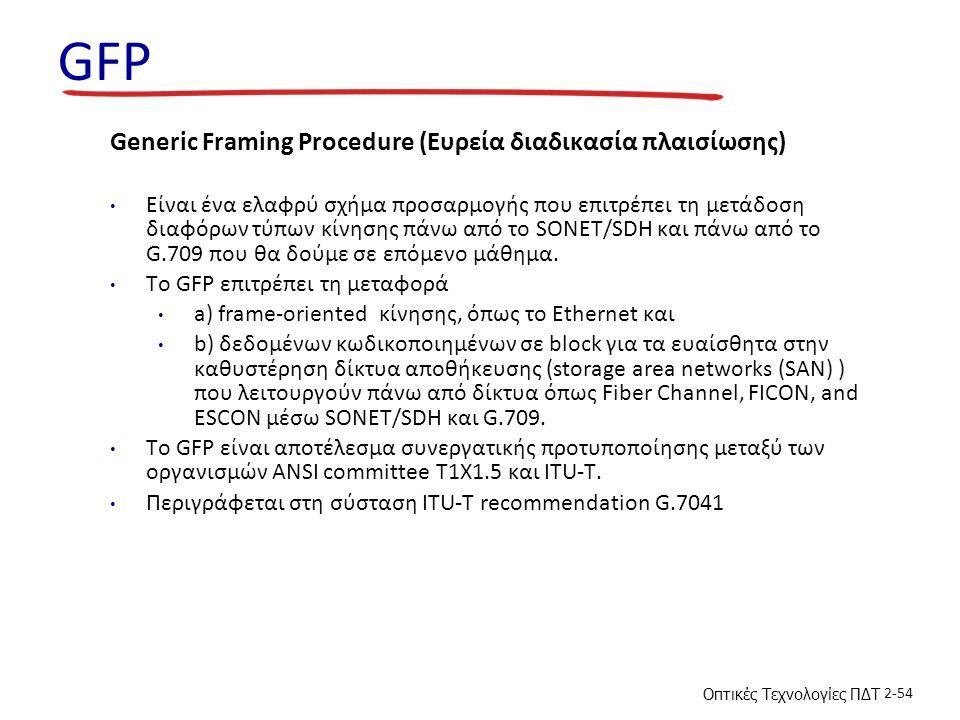 Οπτικές Τεχνολογίες ΠΔΤ 2-54 GFP Generic Framing Procedure (Ευρεία διαδικασία πλαισίωσης) Είναι ένα ελαφρύ σχήμα προσαρμογής που επιτρέπει τη μετάδοση διαφόρων τύπων κίνησης πάνω από το SONET/SDH και πάνω από το G.709 που θα δούμε σε επόμενο μάθημα.