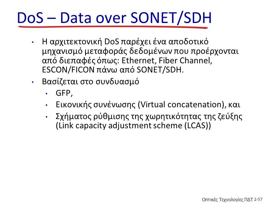 Οπτικές Τεχνολογίες ΠΔΤ 2-57 DoS – Data over SONET/SDH H αρχιτεκτονική DoS παρέχει ένα αποδοτικό μηχανισμό μεταφοράς δεδομένων που προέρχονται από διεπαφές όπως: Ethernet, Fiber Channel, ESCON/FICON πάνω από SONET/SDH.