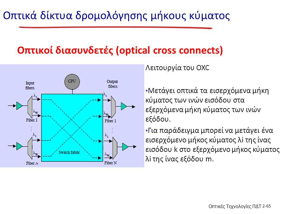 Οπτικές Τεχνολογίες ΠΔΤ 2-65 Οπτικά δίκτυα δρομολόγησης μήκους κύματος Οπτικοί διασυνδετές (optical cross connects) Λειτουργία του OXC Μετάγει οπτικά τα εισερχόμενα μήκη κύματος των ινών εισόδου στα εξερχόμενα μήκη κύματος των ινών εξόδου.