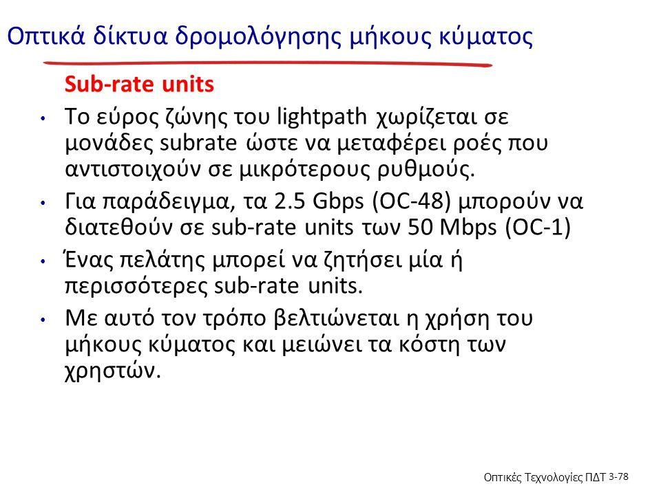 Οπτικές Τεχνολογίες ΠΔΤ 3-78 Οπτικά δίκτυα δρομολόγησης μήκους κύματος Sub-rate units To εύρος ζώνης του lightpath χωρίζεται σε μονάδες subrate ώστε να μεταφέρει ροές που αντιστοιχούν σε μικρότερους ρυθμούς.
