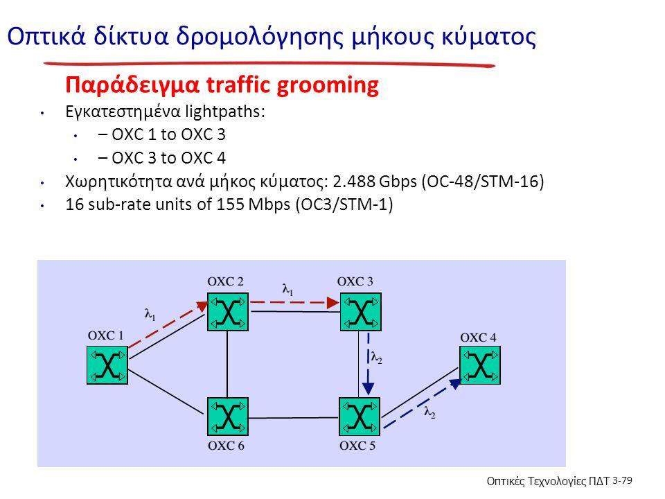 Οπτικές Τεχνολογίες ΠΔΤ 3-79 Οπτικά δίκτυα δρομολόγησης μήκους κύματος Παράδειγμα traffic grooming Εγκατεστημένα lightpaths: – OXC 1 to OXC 3 – OXC 3 to OXC 4 Χωρητικότητα ανά μήκος κύματος: 2.488 Gbps (OC-48/STM-16) 16 sub-rate units of 155 Mbps (OC3/STM-1)