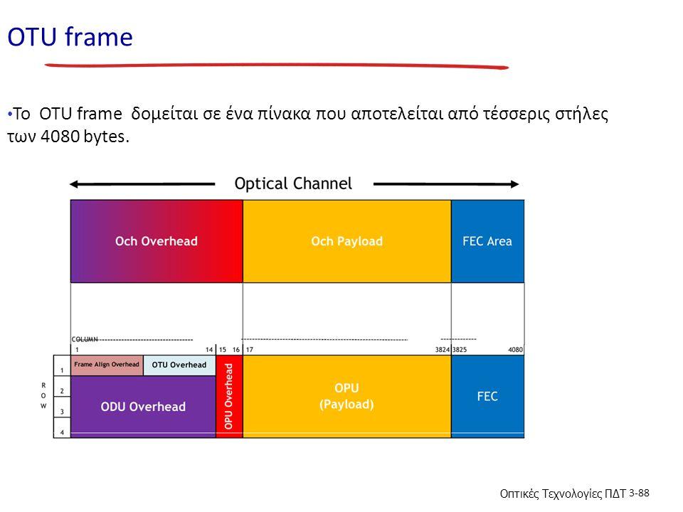 Οπτικές Τεχνολογίες ΠΔΤ 3-88 ΟΤU frame To OTU frame δομείται σε ένα πίνακα που αποτελείται από τέσσερις στήλες των 4080 bytes.