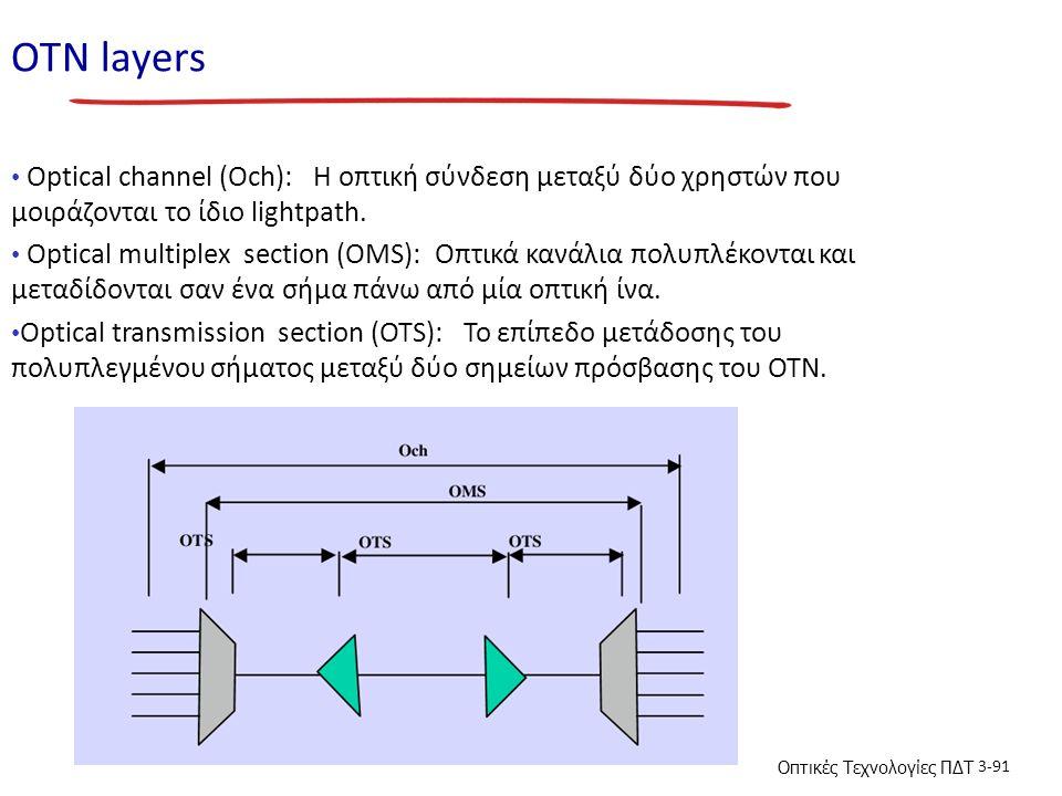 Οπτικές Τεχνολογίες ΠΔΤ 3-91 ΟΤΝ layers Optical channel (Och): H οπτική σύνδεση μεταξύ δύο χρηστών που μοιράζονται το ίδιο lightpath. Optical multiple