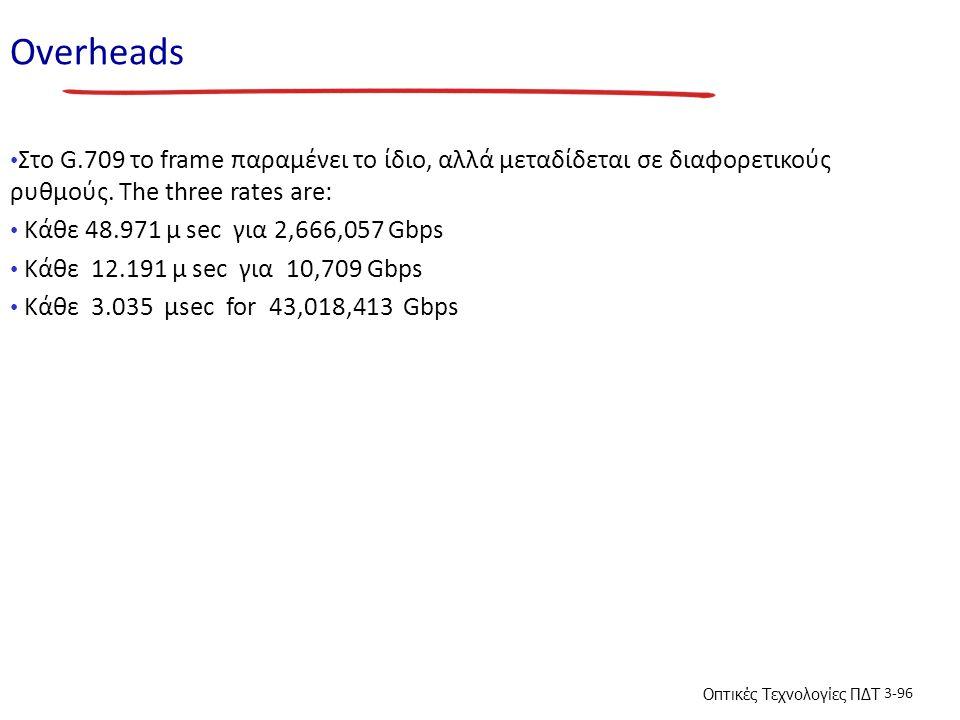 Οπτικές Τεχνολογίες ΠΔΤ 3-96 Overheads Στο G.709 το frame παραμένει το ίδιο, αλλά μεταδίδεται σε διαφορετικούς ρυθμούς. The three rates are: Κάθε 48.9