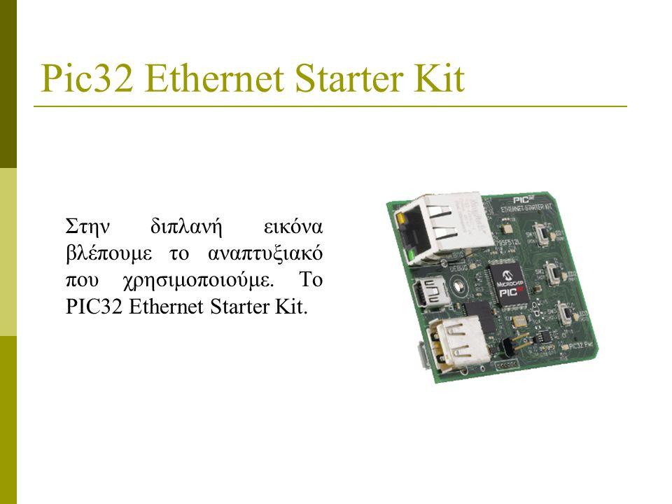 Pic32 Ethernet Starter Kit Στην διπλανή εικόνα βλέπουμε το αναπτυξιακό που χρησιμοποιούμε.
