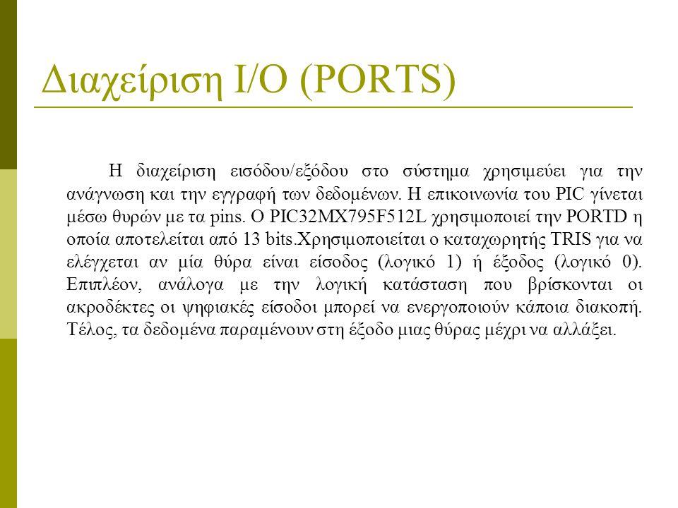Διαχείριση I/O (PORTS) Η διαχείριση εισόδου/εξόδου στο σύστημα χρησιμεύει για την ανάγνωση και την εγγραφή των δεδομένων.