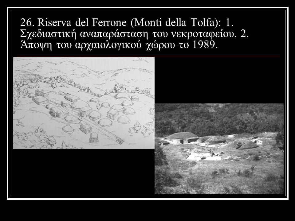 26.Riserva del Ferrone (Monti della Tolfa): 1. Σχεδιαστική αναπαράσταση του νεκροταφείου.