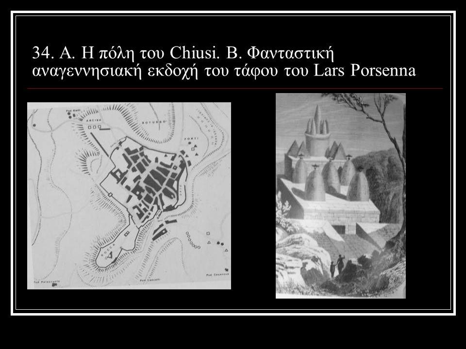 34. Α. Η πόλη του Chiusi. B. Φανταστική αναγεννησιακή εκδοχή του τάφου του Lars Porsenna