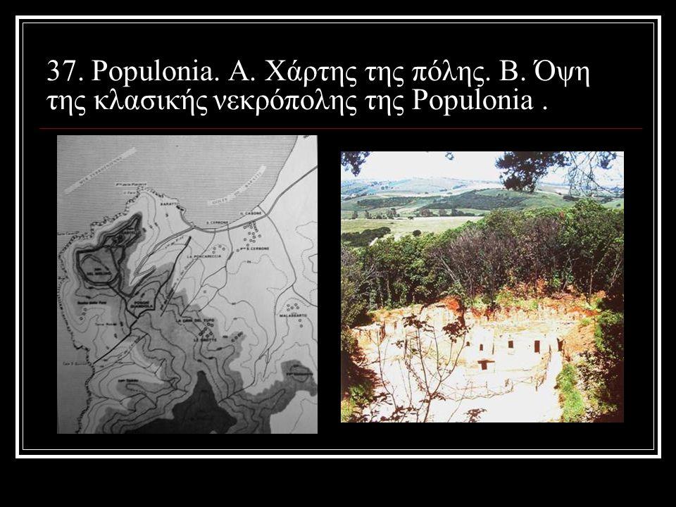 37. Populonia. Α. Χάρτης της πόλης. Β. Όψη της κλασικής νεκρόπολης της Populonia.