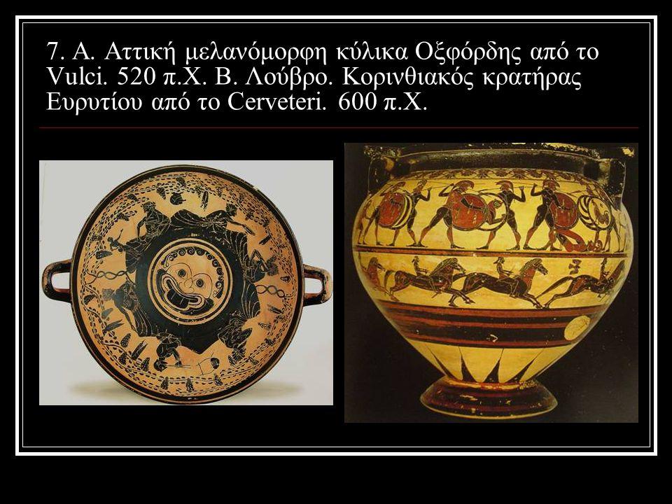 8. A. Μελανόμορφη κύλικα στο εμπόριο έργων τέχνης. Β. Λούβρο. Κρατήρας του Κύκλου Rossoni Crateri.