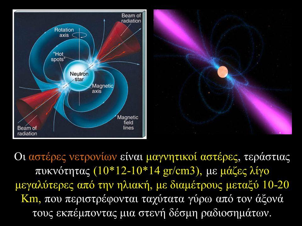 Οι αστέρες νετρονίων είναι μαγνητικοί αστέρες, τεράστιας πυκνότητας (10*12-10*14 gr/cm3), με μάζες λίγο μεγαλύτερες από την ηλιακή, με διαμέτρους μεταξύ 10-20 Km, που περιστρέφονται ταχύτατα γύρω από τον άξονά τους εκπέμποντας μια στενή δέσμη ραδιοσημάτων.