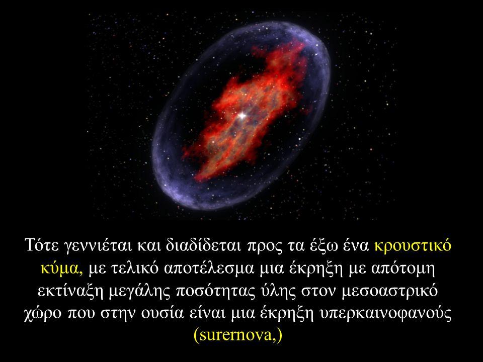 Τότε γεννιέται και διαδίδεται προς τα έξω ένα κρουστικό κύμα, με τελικό αποτέλεσμα μια έκρηξη με απότομη εκτίναξη μεγάλης ποσότητας ύλης στον μεσοαστρικό χώρο που στην ουσία είναι μια έκρηξη υπερκαινοφανούς (surernova,)