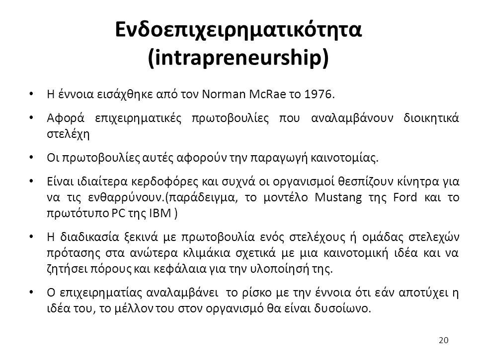 Ενδοεπιχειρηματικότητα (intrapreneurship) Η έννοια εισάχθηκε από τον Norman McRae το 1976. Αφορά επιχειρηματικές πρωτοβουλίες που αναλαμβάνουν διοικητ
