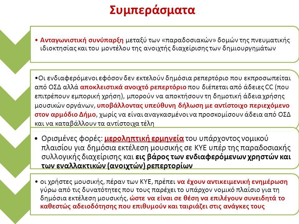 Ανταγωνιστική συνύπαρξη μεταξύ των «παραδοσιακών» δομών της πνευματικής ιδιοκτησίας και του μοντέλου της ανοιχτής διαχείρισης των δημιουργημάτων Οι ενδιαφερόμενοι εφόσον δεν εκτελούν δημόσια ρεπερτόριο που εκπροσωπείται από ΟΣΔ αλλά αποκλειστικά ανοιχτό ρεπερτόριο που διέπεται από άδειες CC (που επιτρέπουν εμπορική χρήση), μπορούν να αποκτήσουν τη δημοτική άδεια χρήσης μουσικών οργάνων, υποβάλλοντας υπεύθυνη δήλωση με αντίστοιχο περιεχόμενο στον αρμόδιο Δήμο, χωρίς να είναι αναγκασμένοι να προσκομίσουν άδεια από ΟΣΔ και να καταβάλλουν τα αντίστοιχα τέλη Ορισμένες φορές: μεροληπτική ερμηνεία του υπάρχοντος νομικού πλαισίου για δημόσια εκτέλεση μουσικής σε ΚΥΕ υπέρ της παραδοσιακής συλλογικής διαχείρισης και εις βάρος των ενδιαφερόμενων χρηστών και των εναλλακτικών (ανοιχτών) ρεπερτορίων οι χρήστες μουσικής, πέραν των ΚΥΕ, πρέπει να έχουν αντικειμενική ενημέρωση γύρω από τις δυνατότητες που τους παρέχει το υπάρχον νομικό πλαίσιο για τη δημόσια εκτέλεση μουσικής, ώστε να είναι σε θέση να επιλέγουν συνειδητά το καθεστώς αδειοδότησης που επιθυμούν και ταιριάζει στις ανάγκες τους Συμπεράσματα