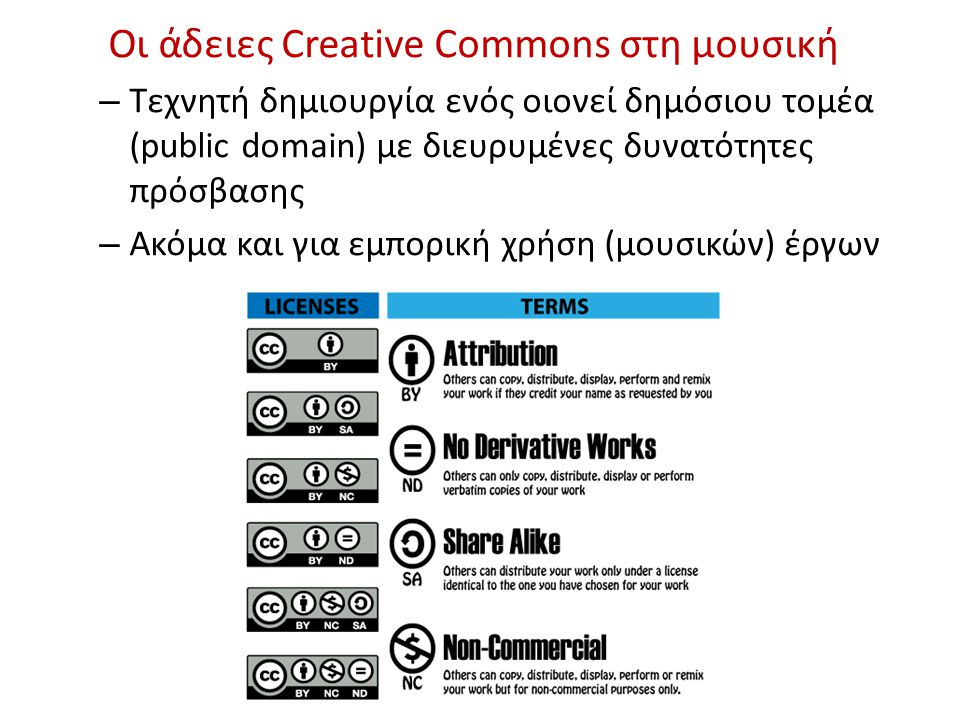 Οι άδειες Creative Commons στη μουσική – Tεχνητή δημιουργία ενός οιονεί δημόσιου τομέα (public domain) με διευρυμένες δυνατότητες πρόσβασης – Ακόμα και για εμπορική χρήση (μουσικών) έργων