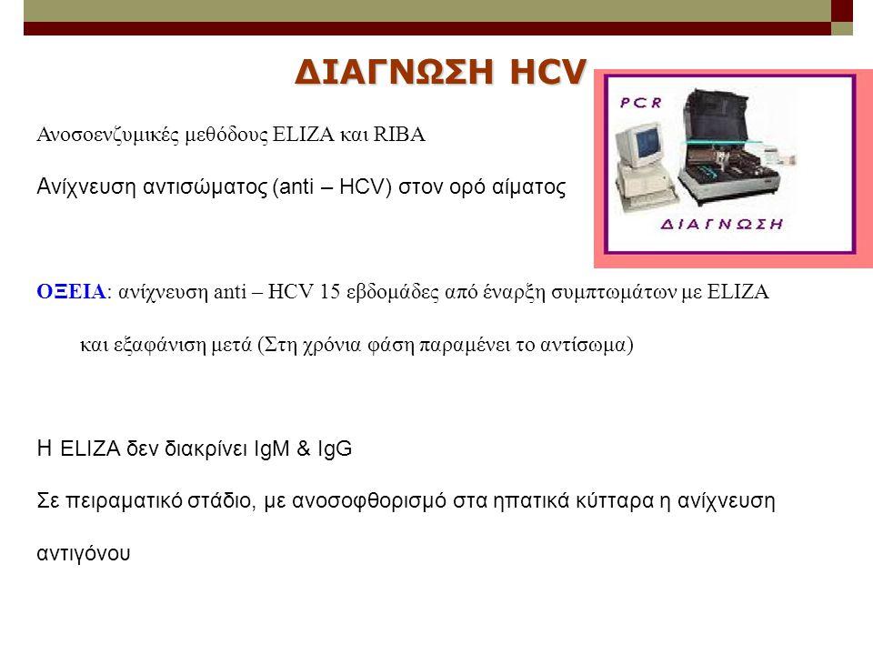 Ανοσοενζυμικές μεθόδους ELIZA και RIBA A νίχνευση αντισώματος (anti – HCV) στον ορό αίματος ΟΞΕΙΑ: ανίχνευση anti – HCV 15 εβδομάδες από έναρξη συμπτω
