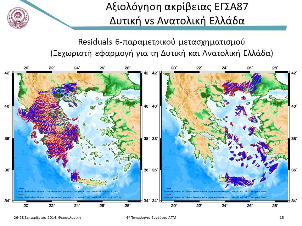 26-28 Σεπτεμβρίου 2014, Θεσσαλονίκη4 ο Πανελλήνιο Συνέδριο ΑΤΜ15 Αξιολόγηση ακρίβειας ΕΓΣΑ87 Δυτική vs Ανατολική Ελλάδα Residuals 6-παραμετρικού μετασχηματισμού (Ξεχωριστή εφαρμογή για τη Δυτική και Ανατολική Ελλάδα)