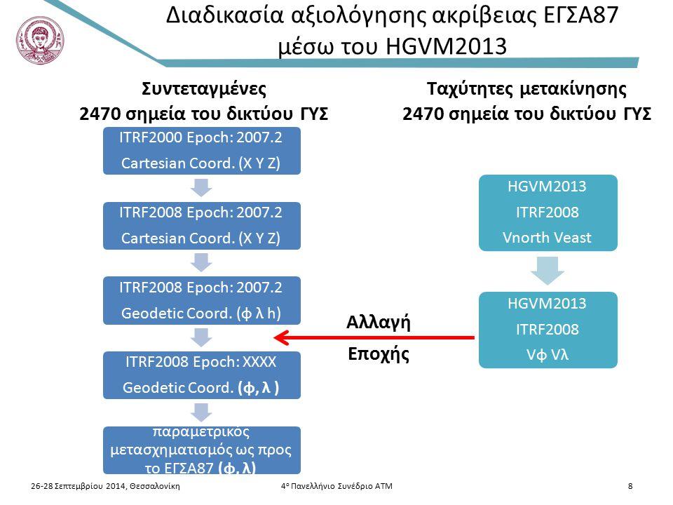 Διαδικασία αξιολόγησης ακρίβειας ΕΓΣΑ87 μέσω του HGVM2013 26-28 Σεπτεμβρίου 2014, Θεσσαλονίκη4 ο Πανελλήνιο Συνέδριο ΑΤΜ8 ITRF2000 Epoch: 2007.2 Carte