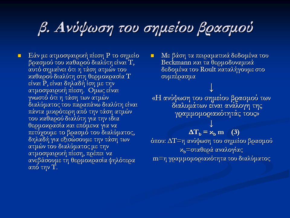 β. Ανύψωση του σημείου βρασμού Εάν με ατμοσφαιρική πίεση Ρ το σημείο βρασμού του καθαρού διαλύτη είναι Τ, αυτό σημαίνει ότι η τάση ατμών του καθαρού δ