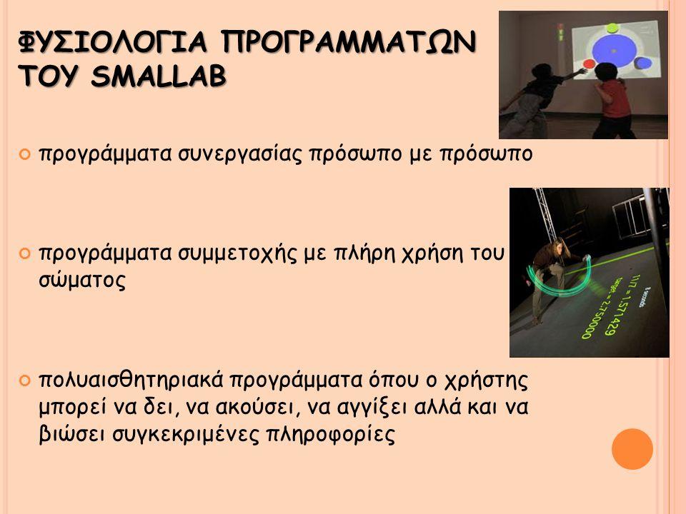 ΦΥΣΙΟΛΟΓΙΑ ΠΡΟΓΡΑΜΜΑΤΩΝ ΤΟΥ SMALLAB προγράμματα συνεργασίας πρόσωπο με πρόσωπο προγράμματα συμμετοχής με πλήρη χρήση του σώματος πολυαισθητηριακά προγράμματα όπου ο χρήστης μπορεί να δει, να ακούσει, να αγγίξει αλλά και να βιώσει συγκεκριμένες πληροφορίες