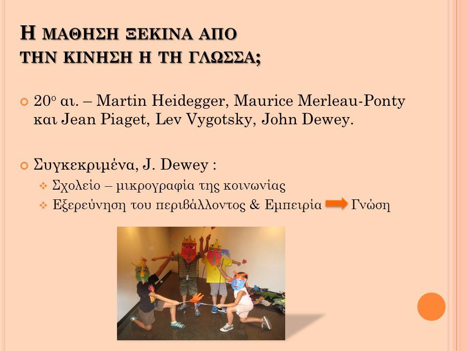 20 ο αι.– Martin Heidegger, Maurice Merleau-Ponty και Jean Piaget, Lev Vygotsky, John Dewey.