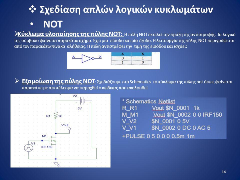  Σχεδίαση απλών λογικών κυκλωμάτων  Kύκλωμα υλοποίησης της πύλης ΝΟΤ : Η πύλη ΝΟΤ εκτελεί την πράξη της αντιστροφής. Το λογικό της σύμβολο φαίνεται
