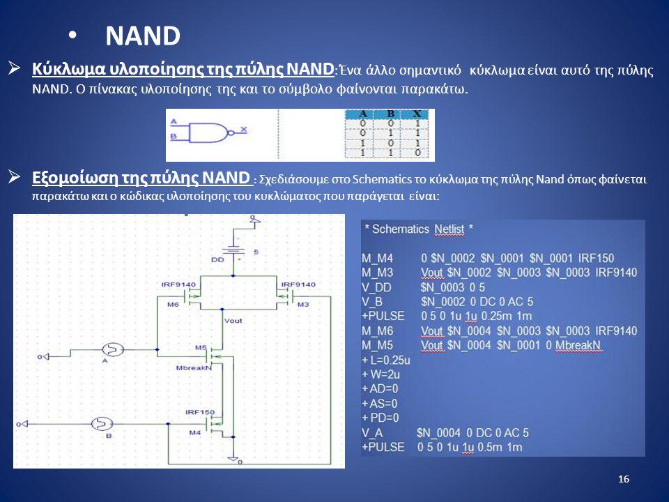  Κύκλωμα υλοποίησης της πύλης ΝAND : Ένα άλλο σημαντικό κύκλωμα είναι αυτό της πύλης NAND. Ο πίνακας υλοποίησης της και το σύμβολο φαίνονται παρακάτω
