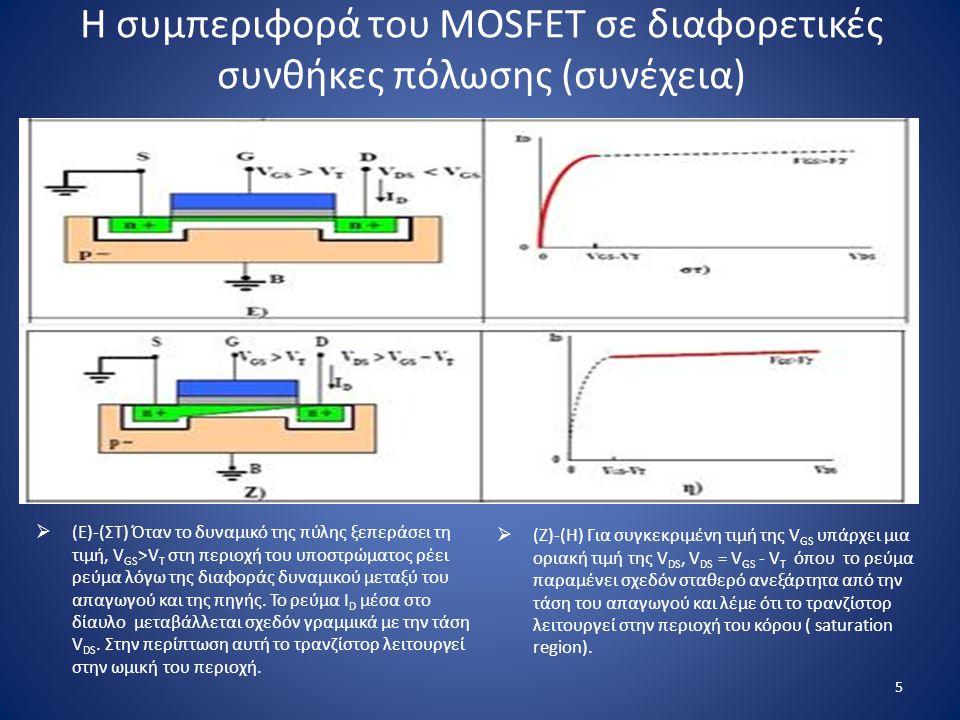 Η συμπεριφορά του MOSFET σε διαφορετικές συνθήκες πόλωσης (συνέχεια)  (Ζ)-(Η) Για συγκεκριμένη τιμή της V GS υπάρχει μια οριακή τιμή της V DS, V DS =