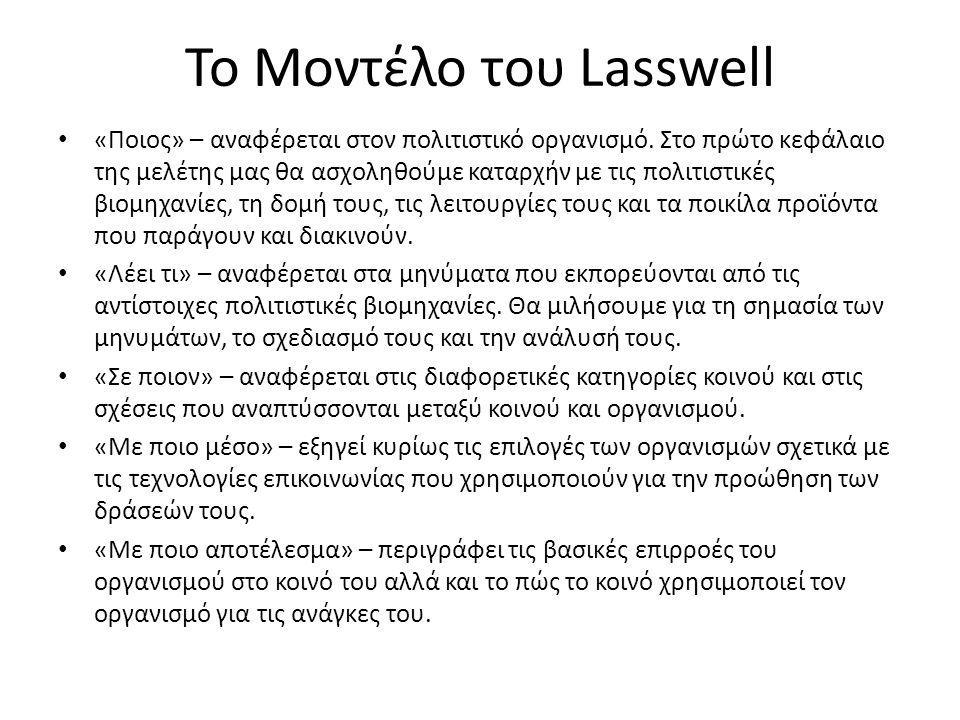 Το Μοντέλο του Lasswell «Ποιος» – αναφέρεται στον πολιτιστικό οργανισμό.