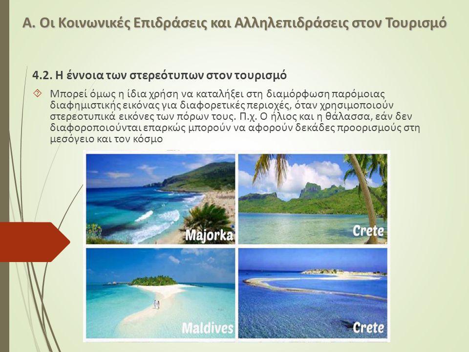 Α. Οι Κοινωνικές Επιδράσεις και Αλληλεπιδράσεις στον Τουρισμό 4.2. Η έννοια των στερεότυπων στον τουρισμό  Μπορεί όμως η ίδια χρήση να καταλήξει στη