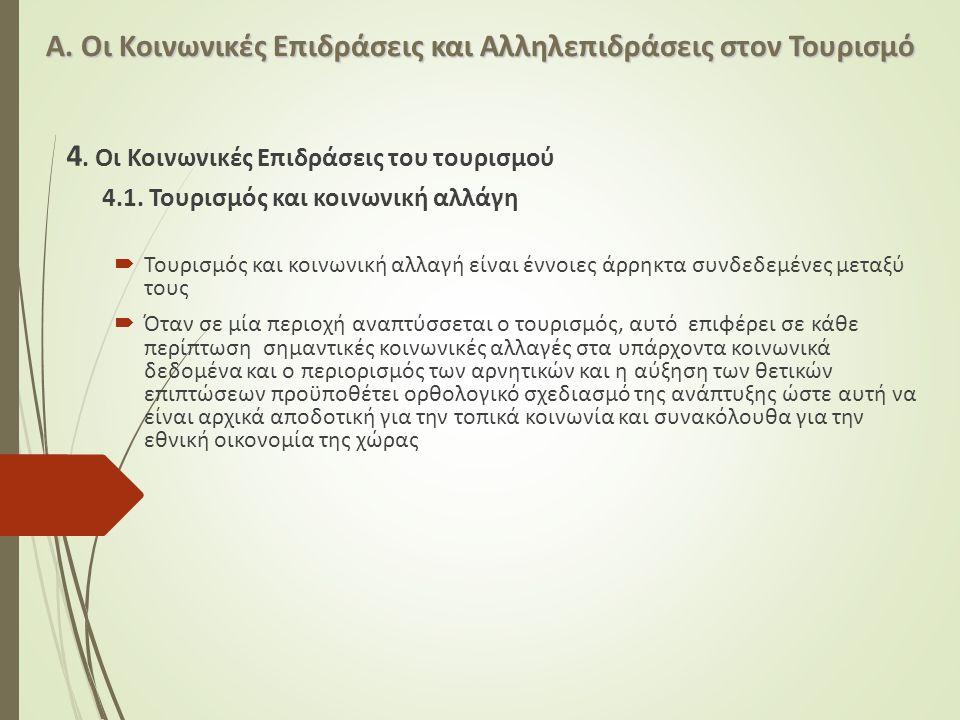 Α. Οι Κοινωνικές Επιδράσεις και Αλληλεπιδράσεις στον Τουρισμό 4. Οι Κοινωνικές Επιδράσεις του τουρισμού 4.1. Τουρισμός και κοινωνική αλλάγη  Τουρισμό