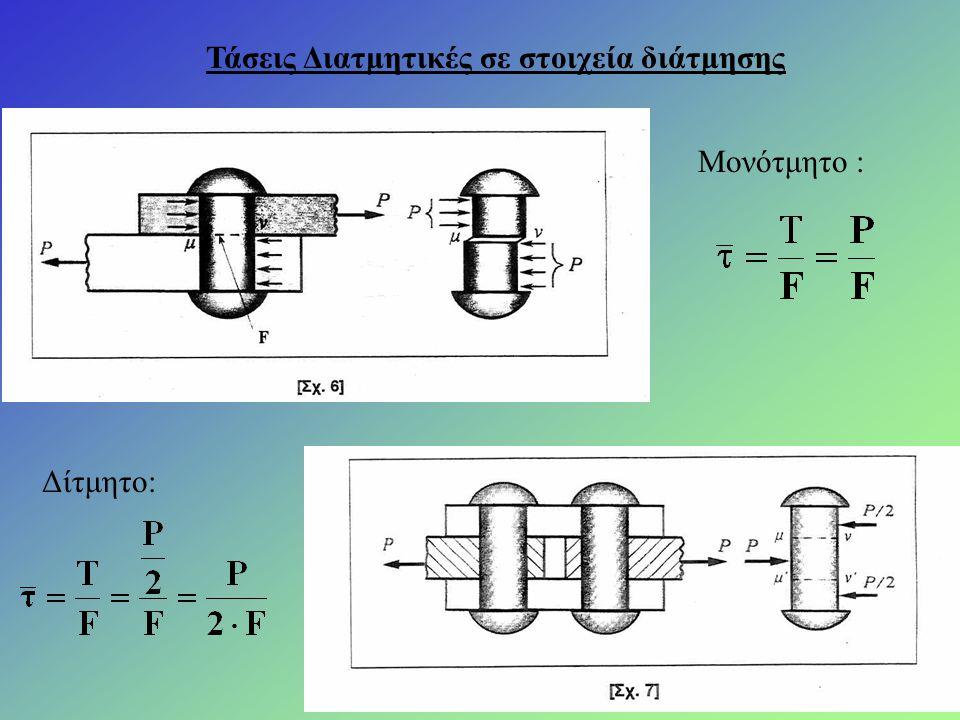 Τάσεις Διατμητικές σε στοιχεία διάτμησης Μονότμητο : Δίτμητο: