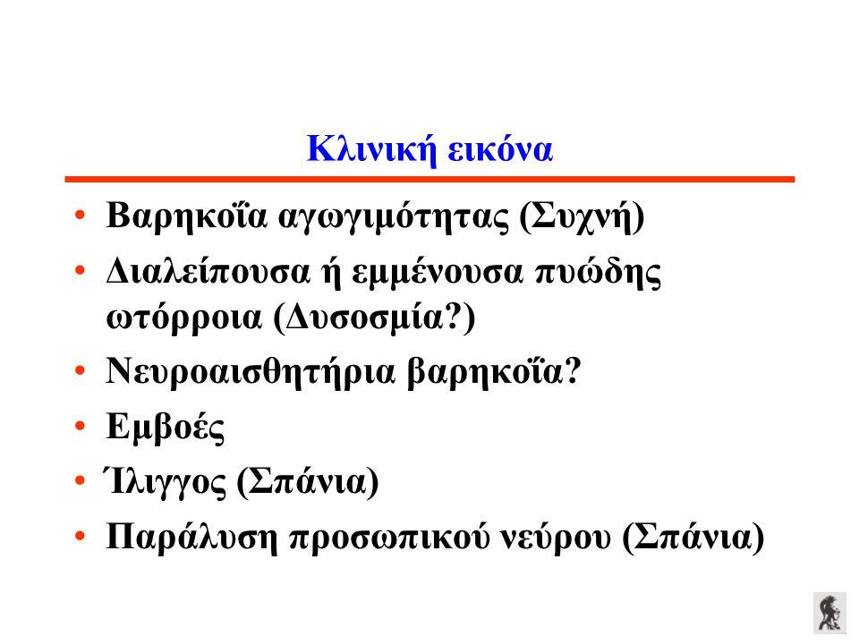 Κλινική εικόνα Βαρηκοΐα αγωγιμότητας (Συχνή) Διαλείπουσα ή εμμένουσα πυώδης ωτόρροια (Δυσοσμία?) Νευροαισθητήρια βαρηκοΐα? Εμβοές Ίλιγγος (Σπάνια) Παρ
