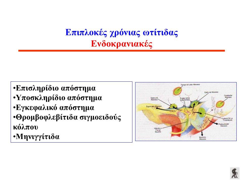 Επιπλοκές χρόνιας ωτίτιδας Ενδοκρανιακές Επισληρίδιο απόστημα Υποσκληρίδιο απόστημα Εγκεφαλικό απόστημα Θρομβοφλεβίτιδα σιγμοειδούς κόλπου Μηνιγγίτιδα