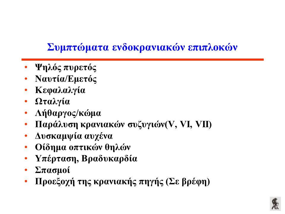 Συμπτώματα ενδοκρανιακών επιπλοκών Ψηλός πυρετός Ναυτία/Εμετός Κεφαλαλγία Ωταλγία Λήθαργος/κώμα Παράλυση κρανιακών συζυγιών(V, VI, VII) Δυσκαμψία αυχέ