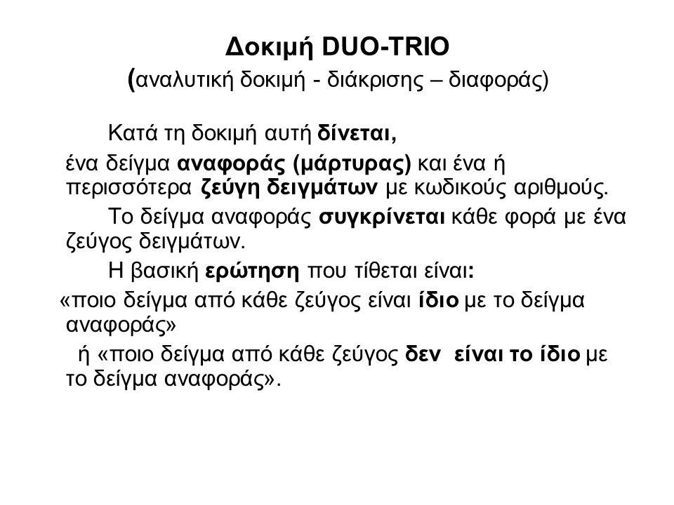 Δοκιμή DUO-TRIO ( αναλυτική δοκιμή - διάκρισης – διαφοράς) Κατά τη δοκιμή αυτή δίνεται, ένα δείγμα αναφοράς (μάρτυρας) και ένα ή περισσότερα ζεύγη δειγμάτων με κωδικούς αριθμούς.