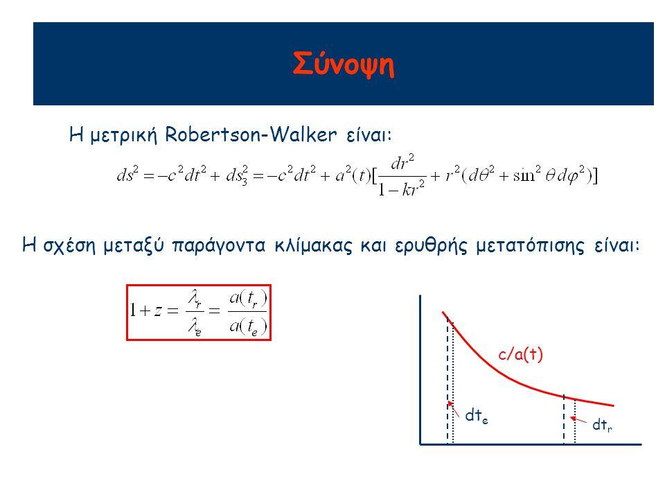 Σύνοψη Η μετρική Robertson-Walker είναι: Η σχέση μεταξύ παράγοντα κλίμακας και ερυθρής μετατόπισης είναι: c/a(t) dt e dt r