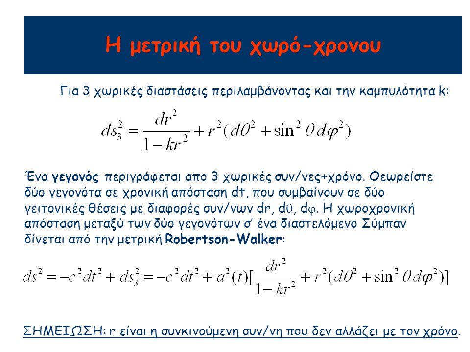 Για 3 χωρικές διαστάσεις περιλαμβάνοντας και την καμπυλότητα k: ΣΗΜΕΙΩΣΗ: r είναι η συνκινούμενη συν/νη που δεν αλλάζει με τον χρόνο. Ένα γεγονός περι