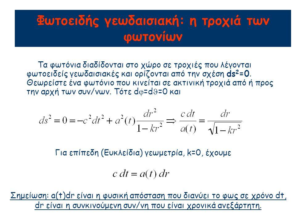 Φωτοειδής γεωδαισιακή: η τροχιά των φωτονίων Τα φωτόνια διαδίδονται στο χώρο σε τροχιές που λέγονται φωτοειδείς γεωδαισιακές και ορίζονται από την σχέση ds 2 =0.