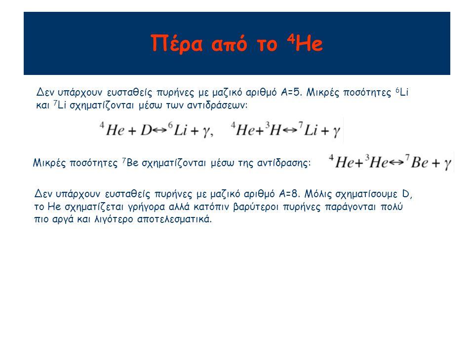 Πέρα από το 4 He Δεν υπάρχουν ευσταθείς πυρήνες με μαζικό αριθμό A=5. Μικρές ποσότητες 6 Li και 7 Li σχηματίζονται μέσω των αντιδράσεων: Μικρές ποσότη