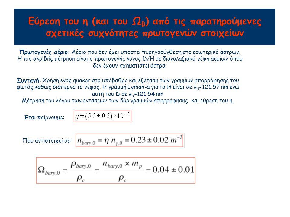 Εύρεση του η (και του Ω Β ) από τις παρατηρούμενες σχετικές συχνότητες πρωτογενών στοιχείων Πρωτογενές αέριο: Αέριο που δεν έχει υποστεί πυρηνοσύνθεση στο εσωτερικό άστρων.