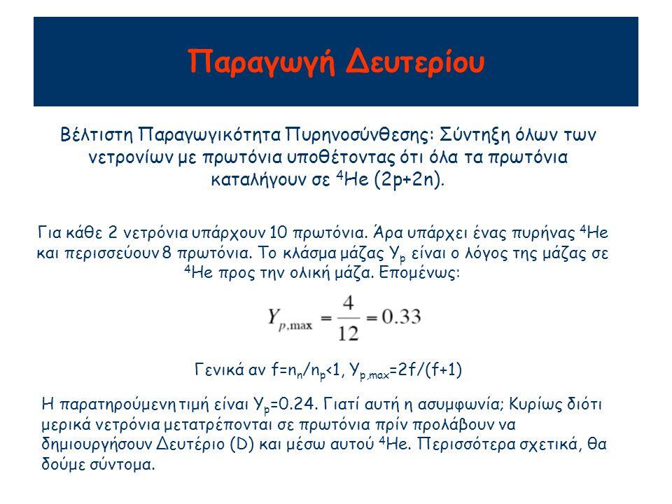 Παραγωγή Δευτερίου Βέλτιστη Παραγωγικότητα Πυρηνοσύνθεσης: Σύντηξη όλων των νετρονίων με πρωτόνια υποθέτοντας ότι όλα τα πρωτόνια καταλήγουν σε 4 He (2p+2n).