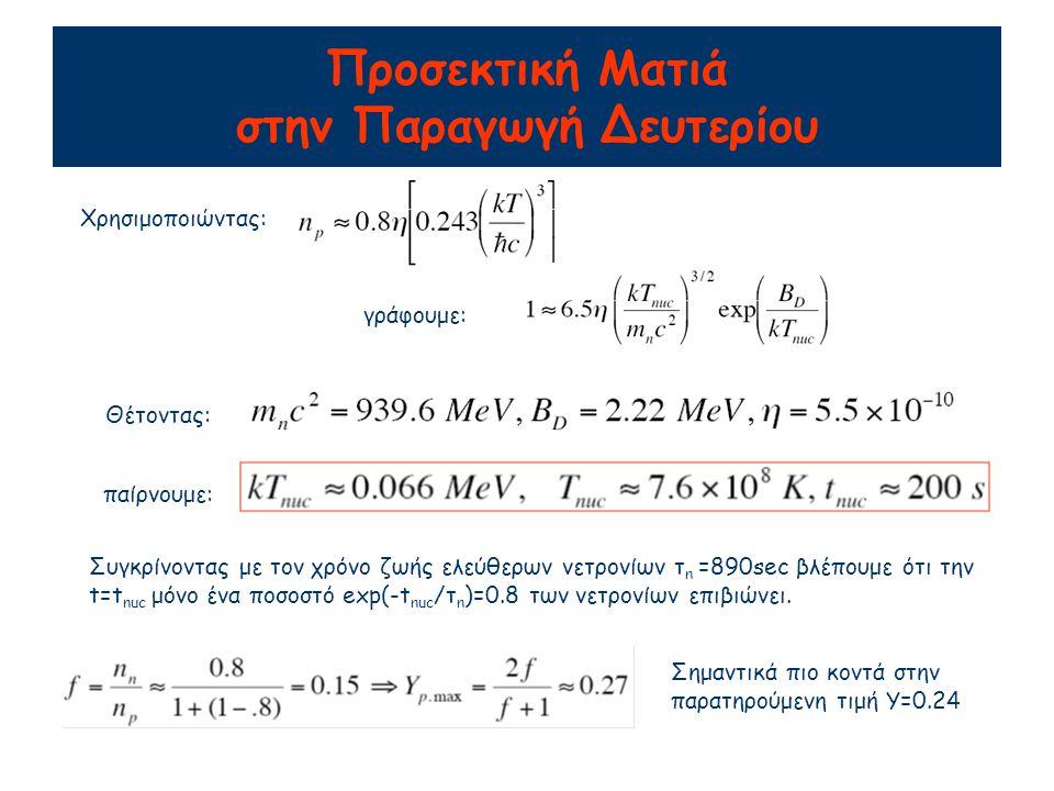 Προσεκτική Ματιά στην Παραγωγή Δευτερίου Χρησιμοποιώντας: γράφουμε: Θέτοντας: παίρνουμε: Συγκρίνοντας με τον χρόνο ζωής ελεύθερων νετρονίων τ n =890sec βλέπουμε ότι την t=t nuc μόνο ένα ποσοστό exp(-t nuc /τ n )=0.8 των νετρονίων επιβιώνει.