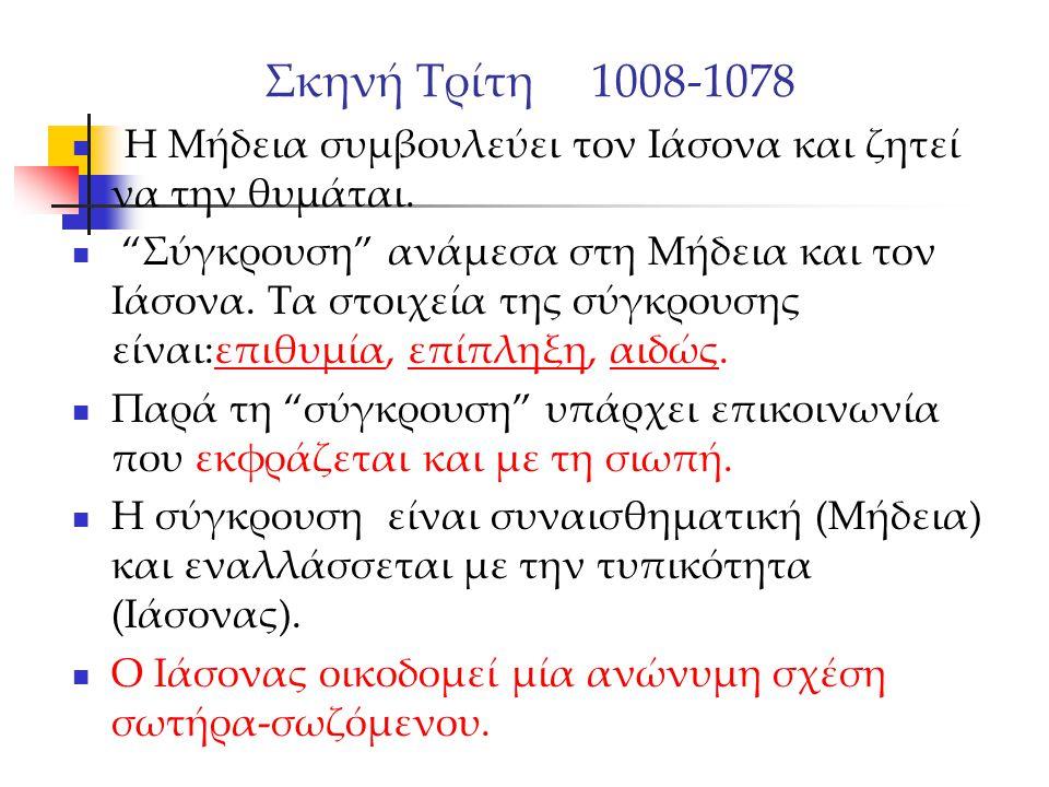 """Σκηνή Τρίτη 1008-1078 Η Μήδεια συμβουλεύει τον Ιάσονα και ζητεί να την θυμάται. """"Σύγκρουση"""" ανάμεσα στη Μήδεια και τον Ιάσονα. Τα στοιχεία της σύγκρου"""