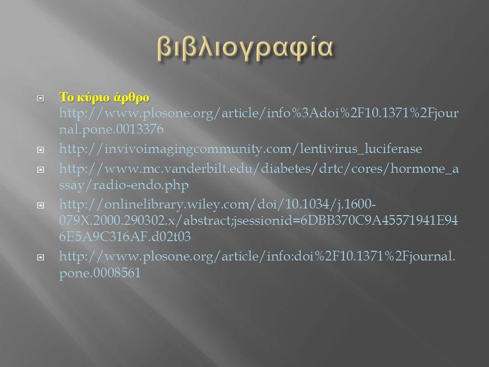  Το κύριο άρθρο  Το κύριο άρθρο http://www.plosone.org/article/info%3Adoi%2F10.1371%2Fjour nal.pone.0013376  http://invivoimagingcommunity.com/lent