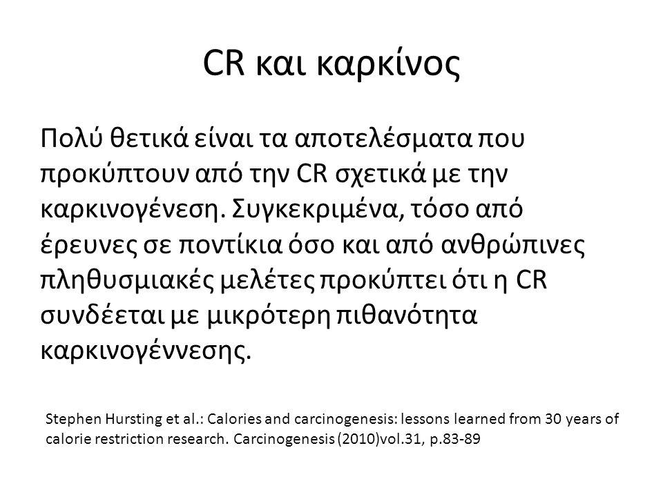 CR και καρκίνος Πολύ θετικά είναι τα αποτελέσματα που προκύπτουν από την CR σχετικά με την καρκινογένεση.