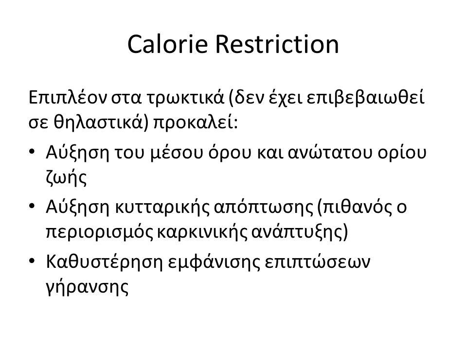 Calorie Restriction Επιπλέον στα τρωκτικά (δεν έχει επιβεβαιωθεί σε θηλαστικά) προκαλεί: Αύξηση του μέσου όρου και ανώτατου ορίου ζωής Αύξηση κυτταρικής απόπτωσης (πιθανός ο περιορισμός καρκινικής ανάπτυξης) Καθυστέρηση εμφάνισης επιπτώσεων γήρανσης