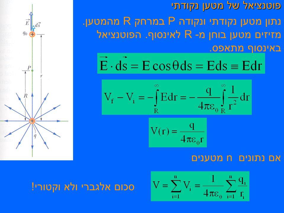 פוטנציאל של מטען נקודתי נתון מטען נקודתי ונקודה P במרחק R מהמטען.